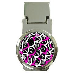 Magenta playful design Money Clip Watches