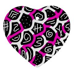 Magenta playful design Heart Ornament (2 Sides)