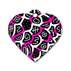 Magenta playful design Dog Tag Heart (One Side)