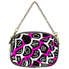 Magenta playful design Chain Purses (One Side)