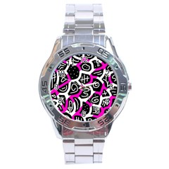 Magenta playful design Stainless Steel Analogue Watch