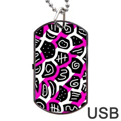 Magenta playful design Dog Tag USB Flash (Two Sides)