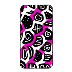 Magenta playful design Apple iPhone 4/4s Seamless Case (Black)