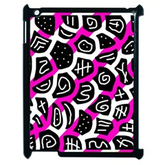 Magenta playful design Apple iPad 2 Case (Black)