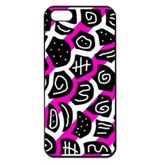 Magenta playful design Apple iPhone 5 Seamless Case (Black)