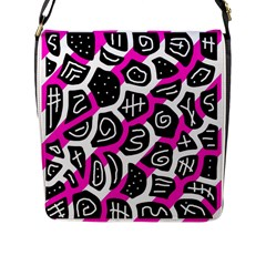 Magenta playful design Flap Messenger Bag (L)