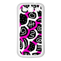 Magenta playful design Samsung Galaxy S3 Back Case (White)