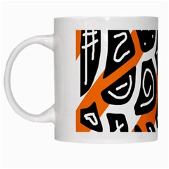 Orange playful design White Mugs