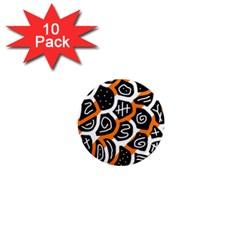 Orange playful design 1  Mini Magnet (10 pack)