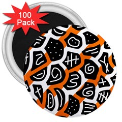 Orange playful design 3  Magnets (100 pack)