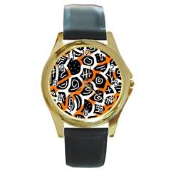 Orange playful design Round Gold Metal Watch