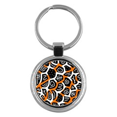Orange playful design Key Chains (Round)