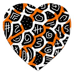 Orange playful design Jigsaw Puzzle (Heart)