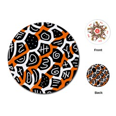 Orange playful design Playing Cards (Round)