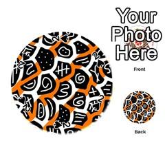 Orange playful design Playing Cards 54 (Round)