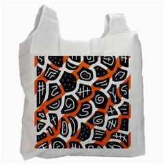 Orange playful design Recycle Bag (One Side)