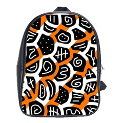 Orange playful design School Bags(Large)