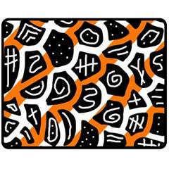 Orange playful design Fleece Blanket (Medium)