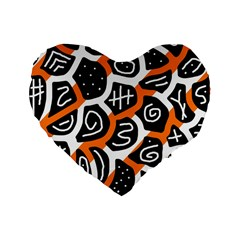 Orange playful design Standard 16  Premium Heart Shape Cushions