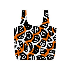 Orange playful design Full Print Recycle Bags (S)