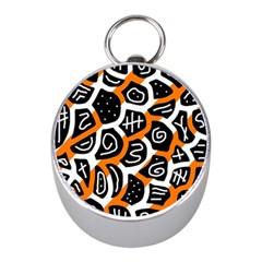 Orange playful design Mini Silver Compasses
