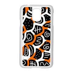 Orange playful design Samsung Galaxy S5 Case (White)