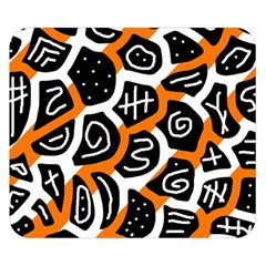 Orange playful design Double Sided Flano Blanket (Small)