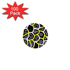 Yellow playful design 1  Mini Buttons (100 pack)