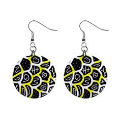 Yellow playful design Mini Button Earrings