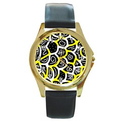 Yellow playful design Round Gold Metal Watch
