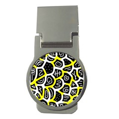 Yellow playful design Money Clips (Round)