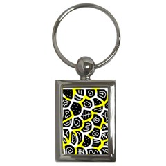 Yellow playful design Key Chains (Rectangle)