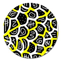 Yellow playful design Magnet 5  (Round)