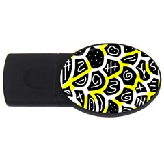 Yellow playful design USB Flash Drive Oval (1 GB)