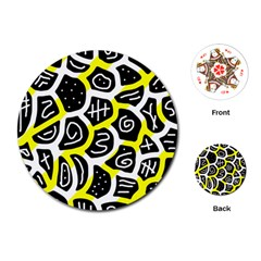 Yellow playful design Playing Cards (Round)