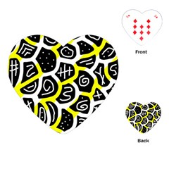 Yellow playful design Playing Cards (Heart)