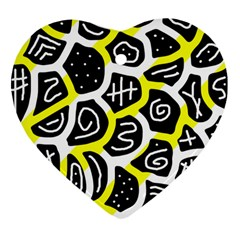Yellow playful design Heart Ornament (2 Sides)