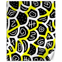 Yellow playful design Canvas 11  x 14