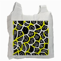 Yellow playful design Recycle Bag (Two Side)