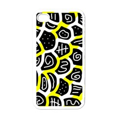 Yellow playful design Apple iPhone 4 Case (White)