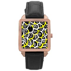 Yellow playful design Rose Gold Leather Watch