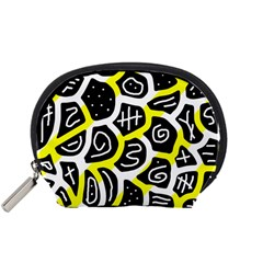 Yellow playful design Accessory Pouches (Small)