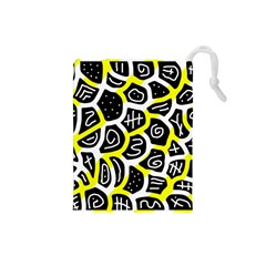 Yellow playful design Drawstring Pouches (Small)