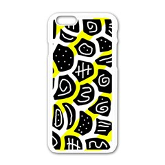 Yellow playful design Apple iPhone 6/6S White Enamel Case