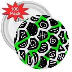 Green playful design 3  Buttons (100 pack)