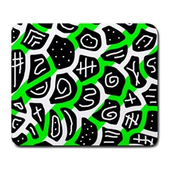 Green playful design Large Mousepads