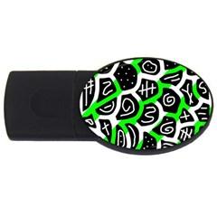 Green playful design USB Flash Drive Oval (1 GB)