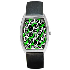 Green Playful Design Barrel Style Metal Watch