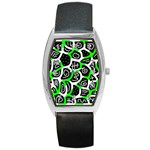 Green playful design Barrel Style Metal Watch Front