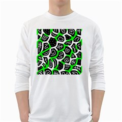 Green playful design White Long Sleeve T-Shirts